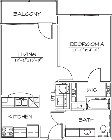613 sq. ft. floor plan