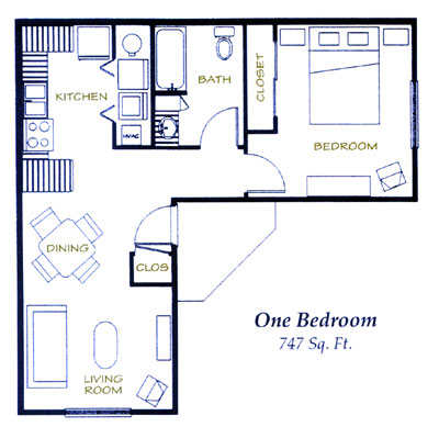 747 sq. ft. 60% floor plan