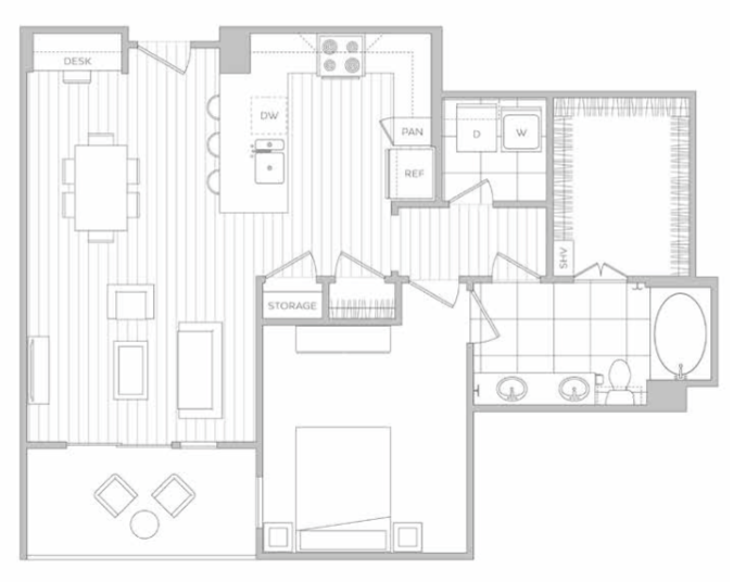 886 sq. ft. H floor plan
