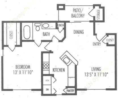 740 sq. ft. A2A floor plan