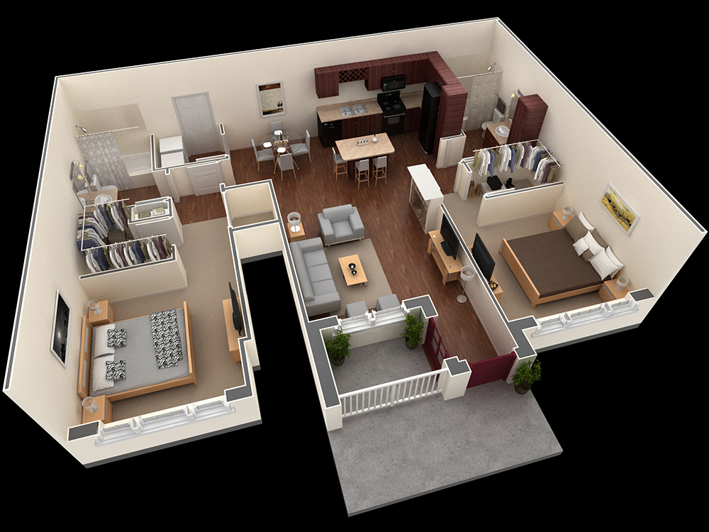 1,086 sq. ft. Miller floor plan