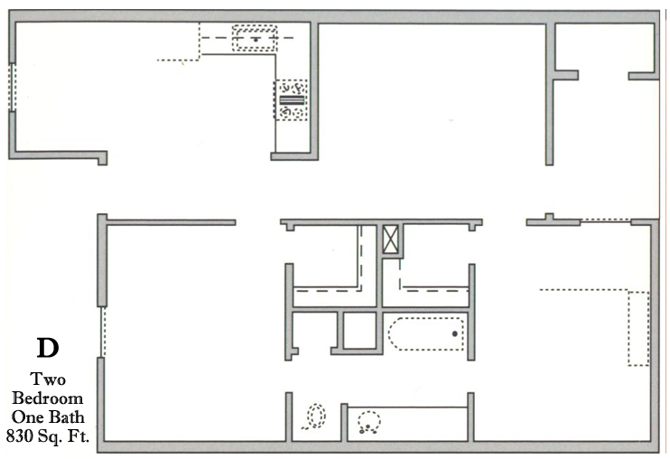 830 sq. ft. D/60 floor plan