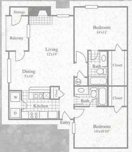 986 sq. ft. II floor plan