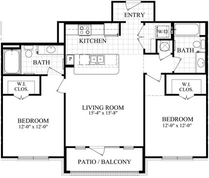 1,133 sq. ft. C2 floor plan