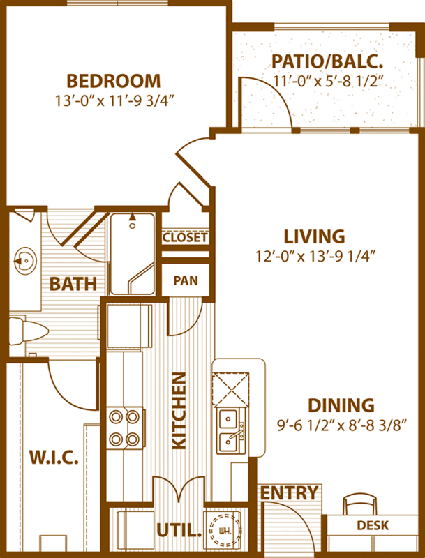 729 sq. ft. A1/50% floor plan
