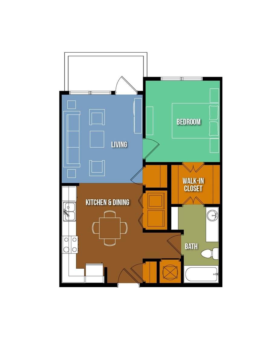 676 sq. ft. Beth Eidelberg floor plan