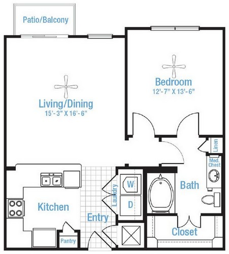 765 sq. ft. Windcrest floor plan