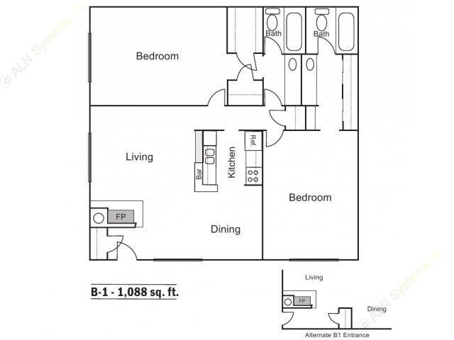 1,088 sq. ft. B-1 floor plan