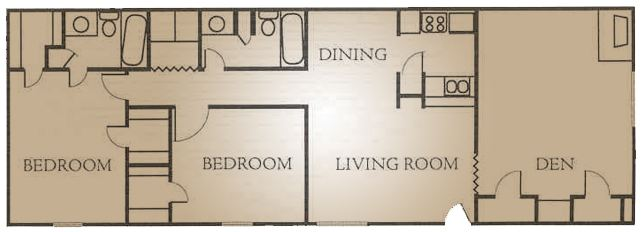 1,340 sq. ft. I floor plan