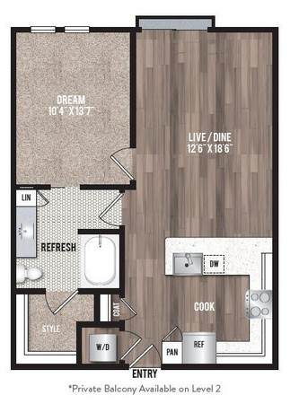 744 sq. ft. A1.6 floor plan
