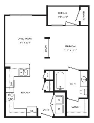 580 sq. ft. E1 floor plan