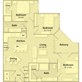 1,401 sq. ft. G floor plan