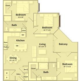 1,401 sq. ft. G floor plan