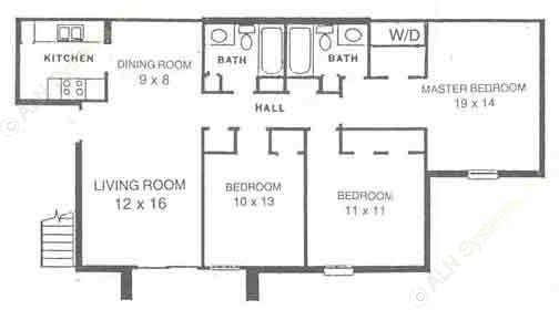 1,100 sq. ft. C1 floor plan