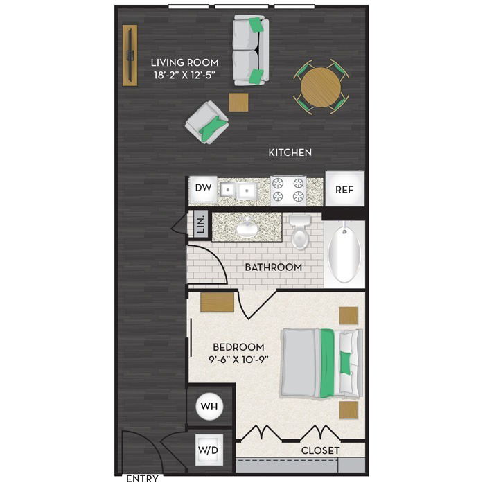 665 sq. ft. S1 floor plan