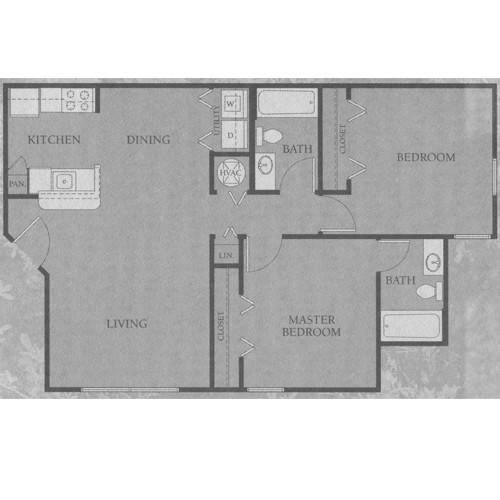 893 sq. ft. 50% floor plan