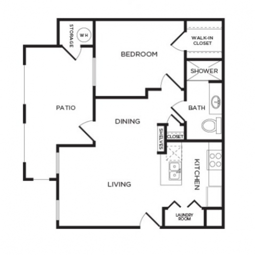 679 sq. ft. A3 floor plan