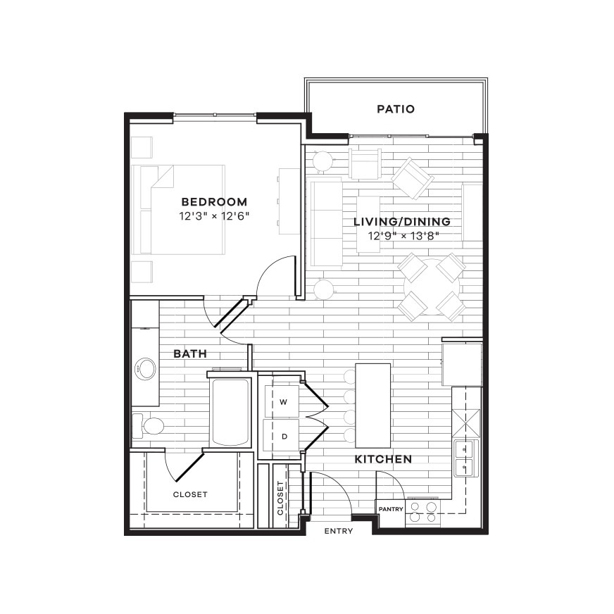 761 sq. ft. 1B floor plan