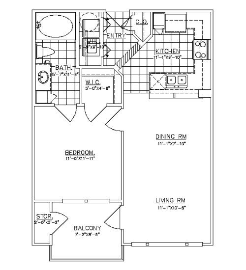 627 sq. ft. Studewood floor plan