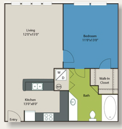 600 sq. ft. F floor plan
