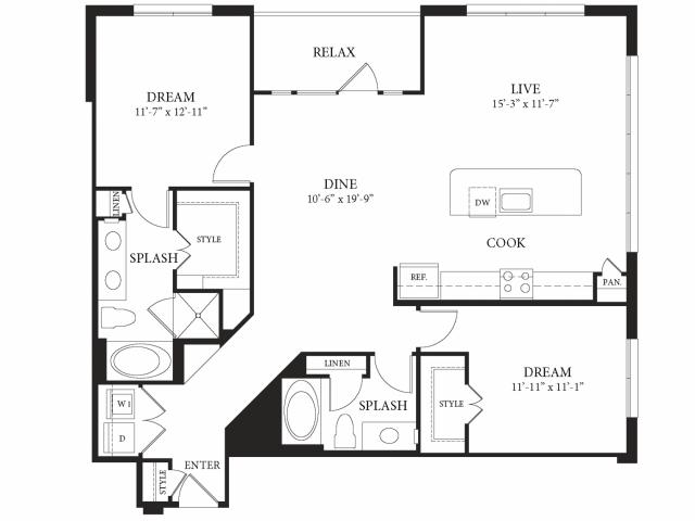 1,350 sq. ft. Angelo floor plan