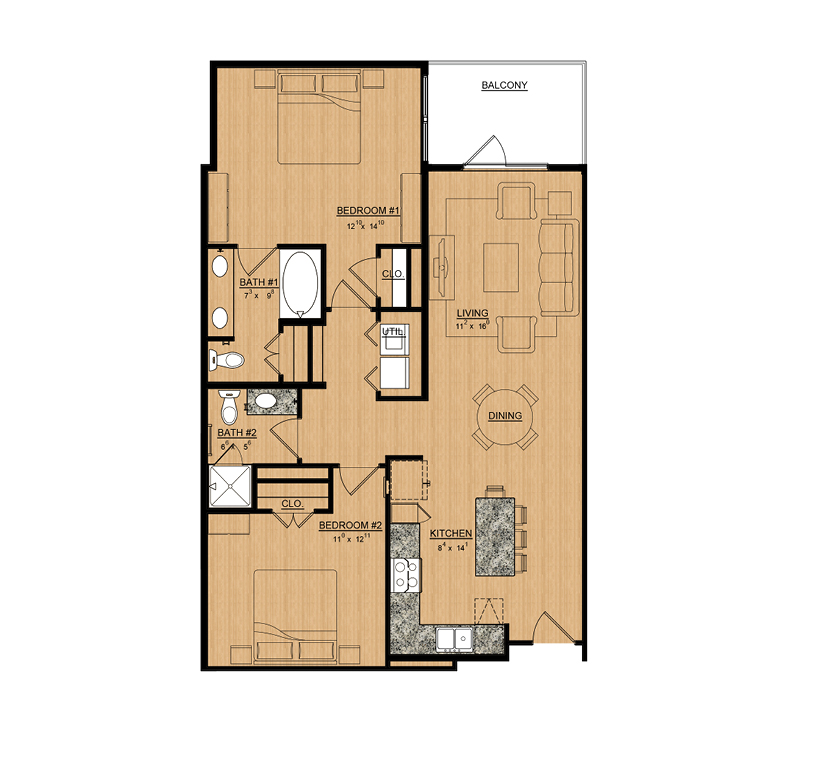 1,134 sq. ft. Daisy floor plan