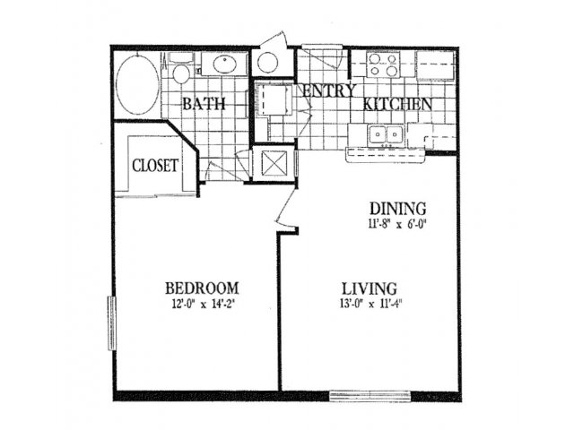 669 sq. ft. A1 floor plan
