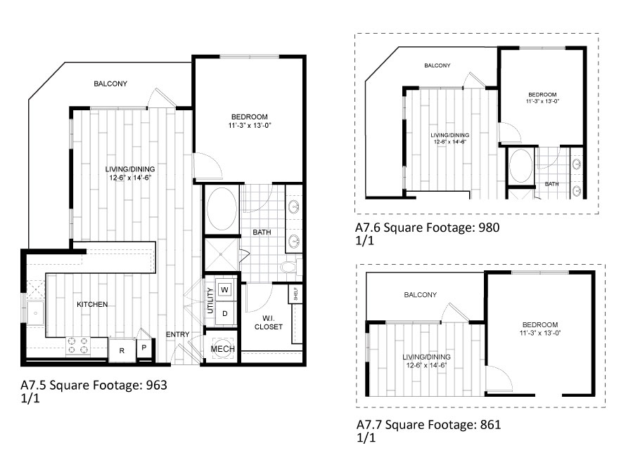 963 sq. ft. A7.5 floor plan