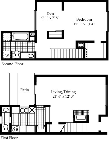 1,012 sq. ft. A1 floor plan