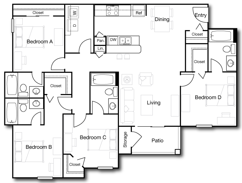1,451 sq. ft. D1 floor plan