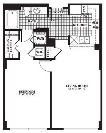 798 sq. ft. A2 floor plan