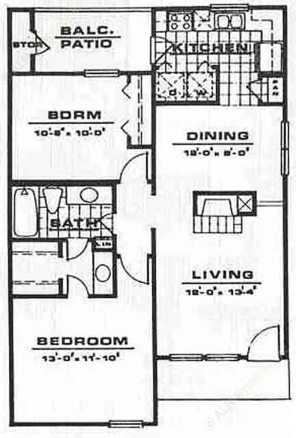 873 sq. ft. B1 floor plan