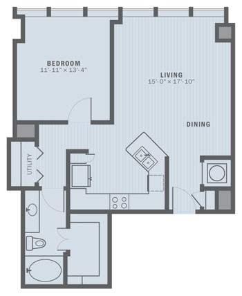 824 sq. ft. A2 floor plan