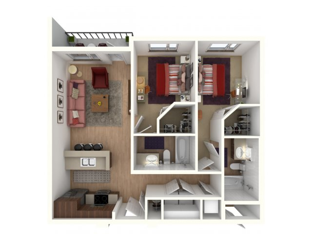 818 sq. ft. Juno Furnished floor plan