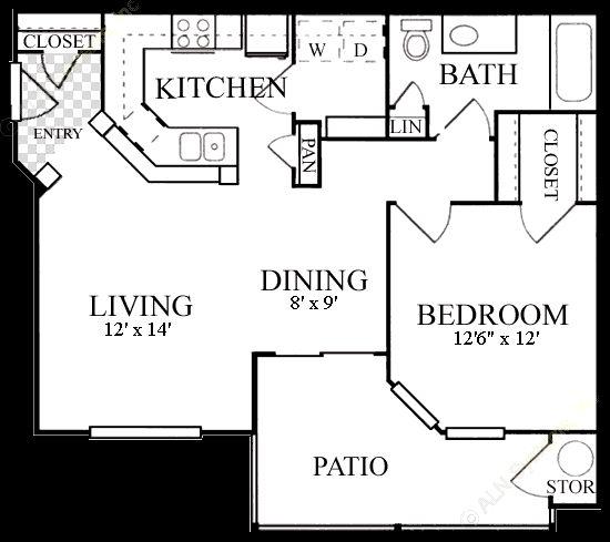 737 sq. ft. A3 floor plan