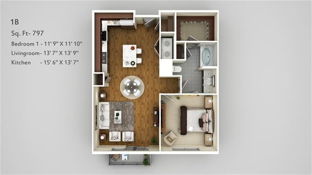 797 sq. ft. 1B floor plan