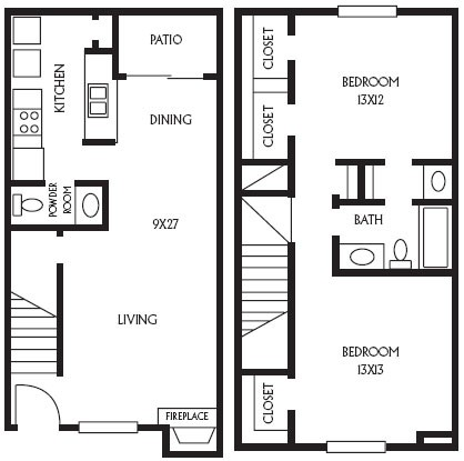 1,064 sq. ft. B11 floor plan