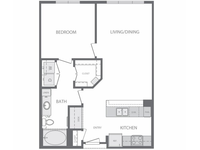 669 sq. ft. to 799 sq. ft. C floor plan