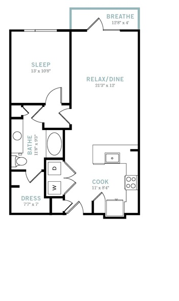 794 sq. ft. A6 floor plan