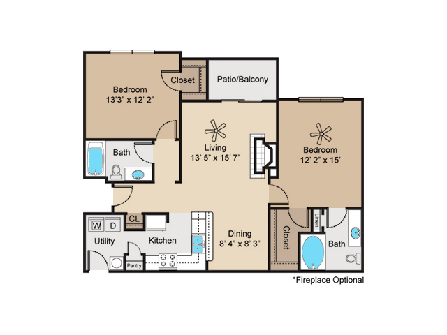 1,084 sq. ft. to 1,155 sq. ft. B2 floor plan