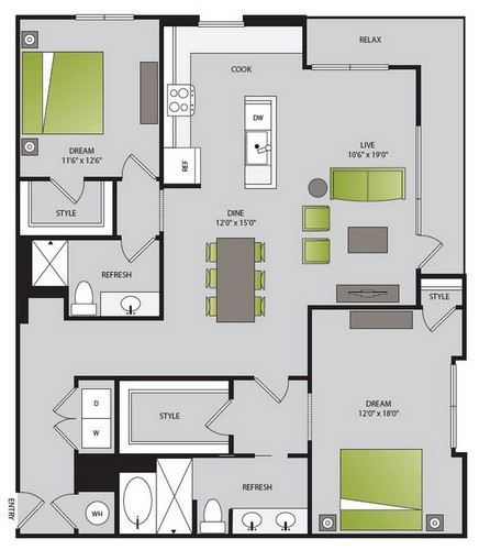 1,324 sq. ft. B3.1 floor plan