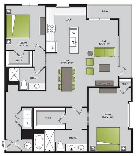1,324 sq. ft. B3.1 floor plan