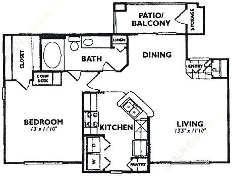 736 sq. ft. A4 floor plan