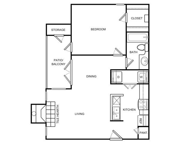 750 sq. ft. A1C floor plan