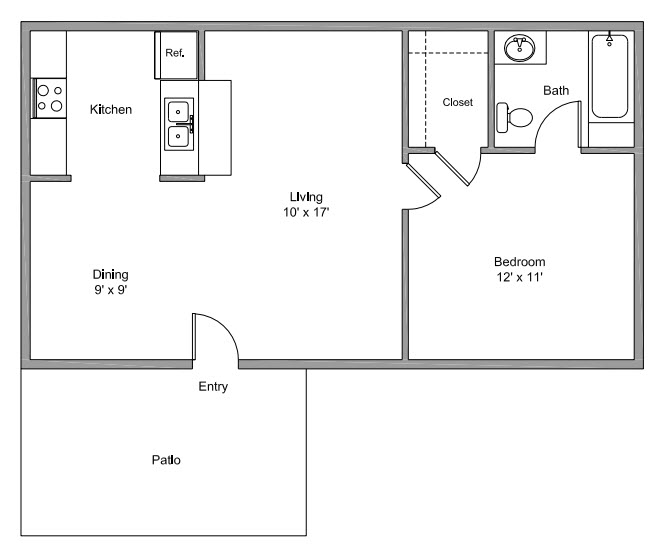 589 sq. ft. A floor plan