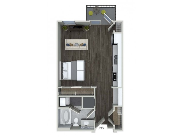 537 sq. ft. E1 floor plan