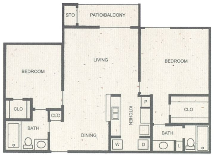 1,030 sq. ft. F floor plan