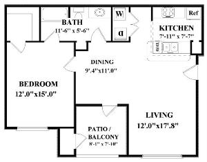 794 sq. ft. Mariner floor plan