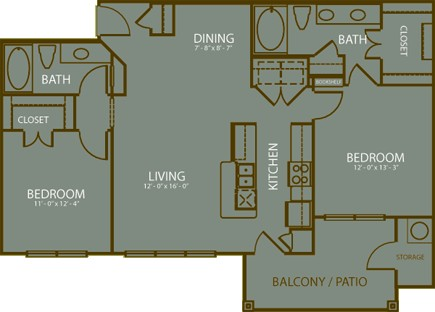 1,086 sq. ft. Rivera floor plan