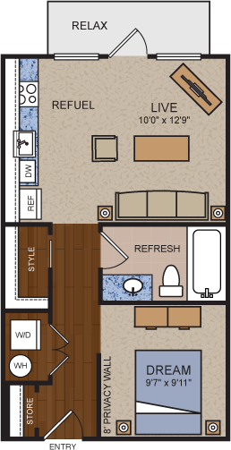 540 sq. ft. E1 floor plan
